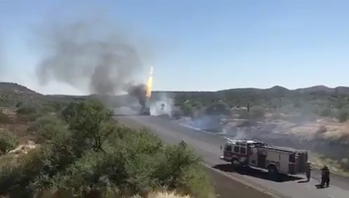 A propane truck fire near Table Mesa Road has closed both directions of Interstate 17 north of the Valley. (ADOT video image)