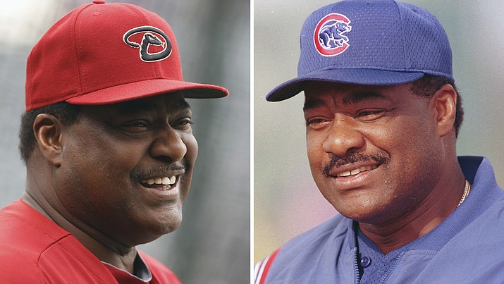 These are file photos showing Arizona Diamondbacks batting coach Don Baylor in 2013, left, and  Chicago Cubs manager Don Baylor in 2001. Don Baylor, the 1979 AL MVP with the California Angels who went on to become manager of the year with the Colorado Rockies in 1995, has died. He was 68. Baylor died Monday, Aug. 7, 2017, at a hospital in Austin, Texas. (AP Photo/File)