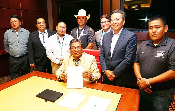 Navajo Nation President Russell Begaye signed legislation establishing the Naat'áanii Development Corporation that will move the Nation toward higher levels of economic development. The signing was attended by members of the 23rd Navajo Nation Council. Submitted photo