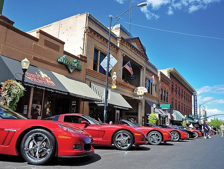 Corvettes line Whiskey Row during the Prescott Corvette Club's Annual All Corvette Car Show in downtown Prescott. (File photo)