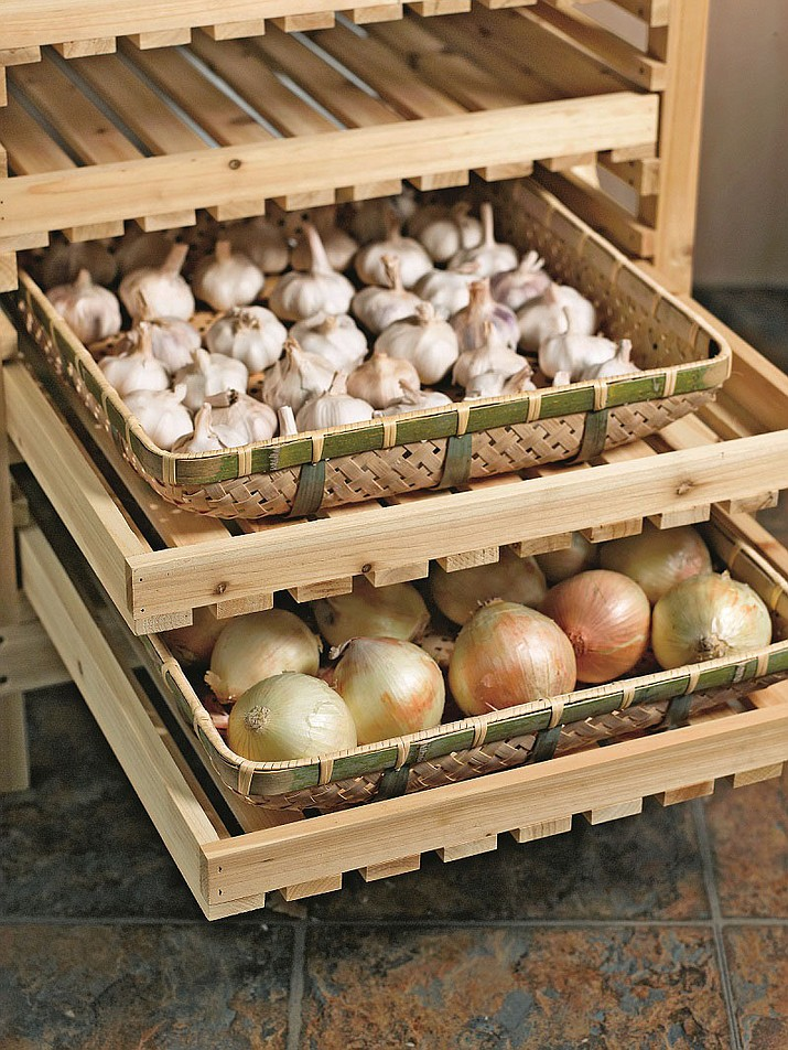 Orchard racks and other storage solutions for fresh produce increase storage longevity while maximizing space. (Gardener's Supply Company)