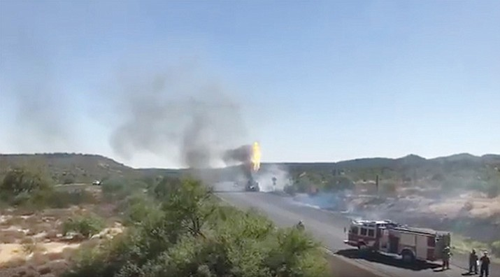 A propane truck fire near Table Mesa Road forced the closure of Interstate 17 in both directions north of the Valley Tuesday evening. The interstate was reopened early Wednesday morning. (ADOT video image)