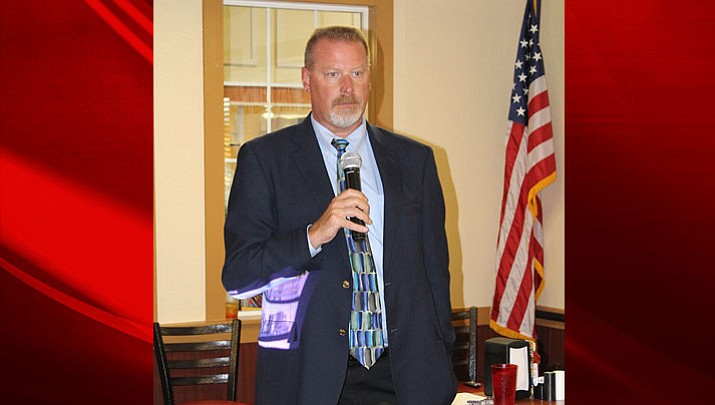 Mohave County Superior Court Judge Charles Gurtler addresses Wednesday's Mohave Republican Forum.