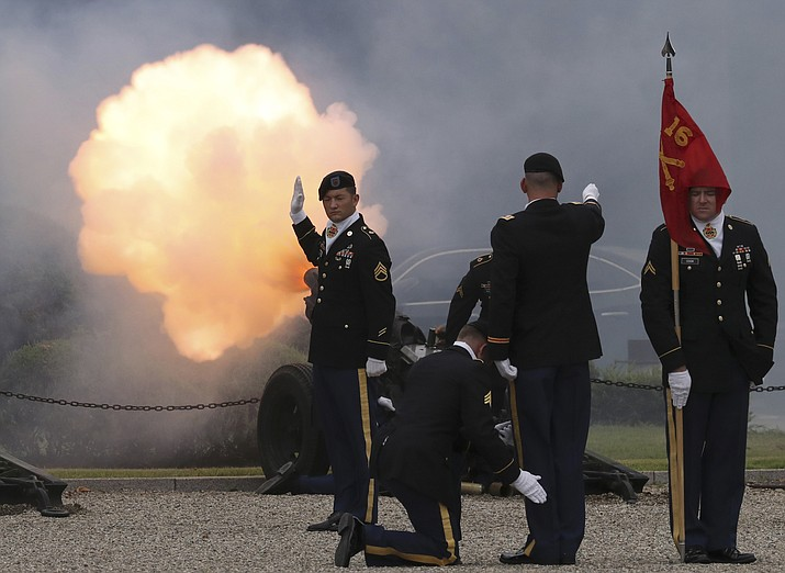 U.S. soldiers fire a salute during a change of command and change of responsibility ceremony for Deputy Commander of the South Korea-U.S. Combined Force Command at Yongsan Garrison, a U.S. military base, in Seoul, South Korea, Friday, Aug. 11.