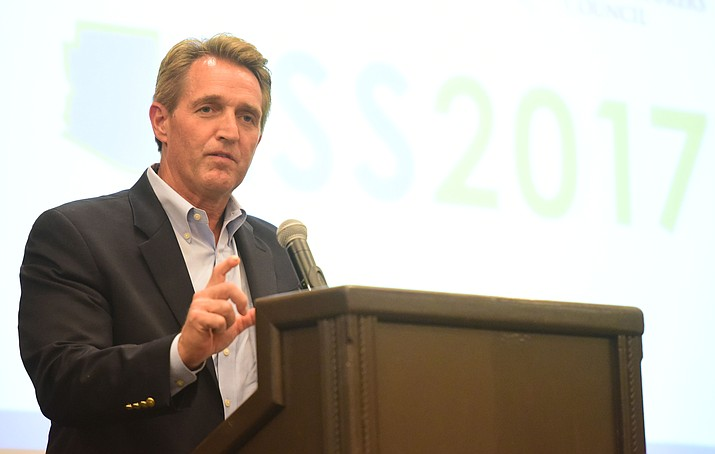 United States Senator (AZ) Jeff Flake gives the keynote address at the Arizona Chamber of Commerce 2017 Environmental and Sustainability Summit at the Prescott Resort Thursday, August 10. (Les Stukenberg/The Daily Courier)