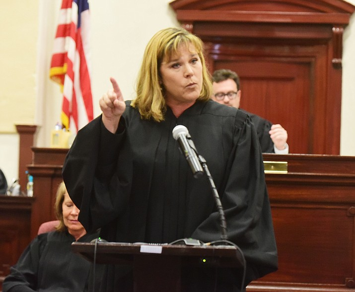 Justice Jennifer Campbell thanks the many people who helped her along her path during her Investiture to the Arizona Court of Appeals Division One at the Yavapai County Courthouse in Prescott Friday, August 11.(Les Stukenberg/The Daily Courier).
