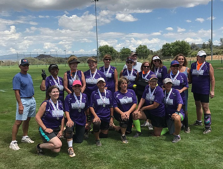 The DeFran Dynamos of Prescott pose for a picture after taking second place in the annual Women's Senior Softball Tournament this past weekend in Prescott. The Dynamos were part of the ages 50 and over bracket. Teams from Texas, California, Missouri, Michigan, Nevada and Arizona were in attendance. (Sharon Carlin/Courtesy)