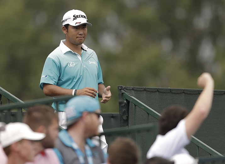 Hideki Matsuyama of Japan, arrives for the second hole during the second round of the PGA Championship at the Quail Hollow Club on Friday, Aug. 11, 2017, in Charlotte, N.C. (John Bazemore/AP)
