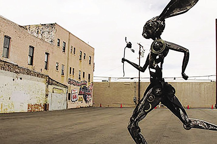 "The 12-foot metal sculpture ""Running Hare"" was created in 2015 by Don Gialenella, resident artist at the ArtHub, and was donated to Route 66 Association for public display on Route 66 at Fourth Street."