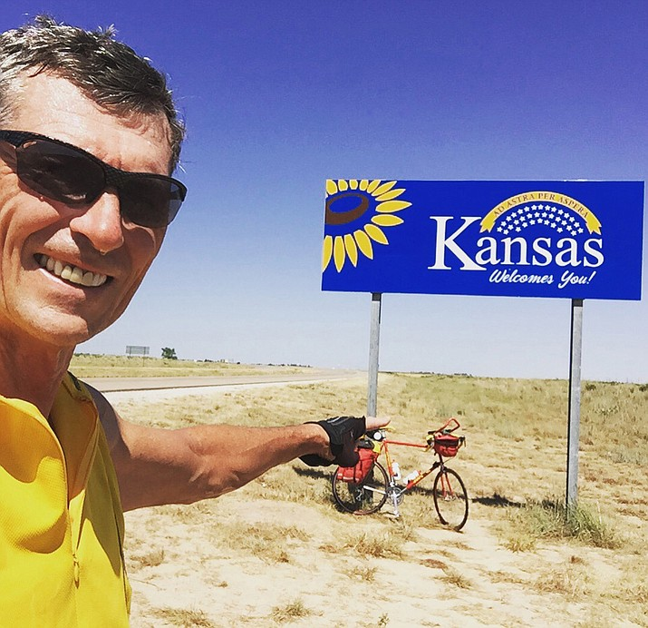 Cottonwood's Rick Peterson completed the journey of a lifetime in July when he rode his bicycle from Cottonwood to his hometown in Pomeroy, Iowa, completing 1,445 miles in 14 days. (Photo courtesy of Rick Peterson)