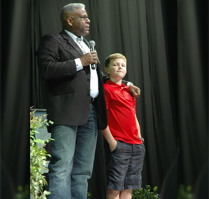 "Lt. Col. Allen West with Gage Lee at his ""Guardian of the Republic"" event Saturday, Aug. 12, in Prescott Valley."