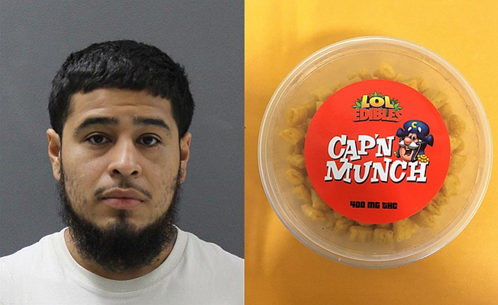 Julian Camacho-Soto, left, and an example of the marijuana edibles.