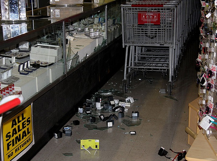 Kmart's jewelry counter was burglarized Monday morning.