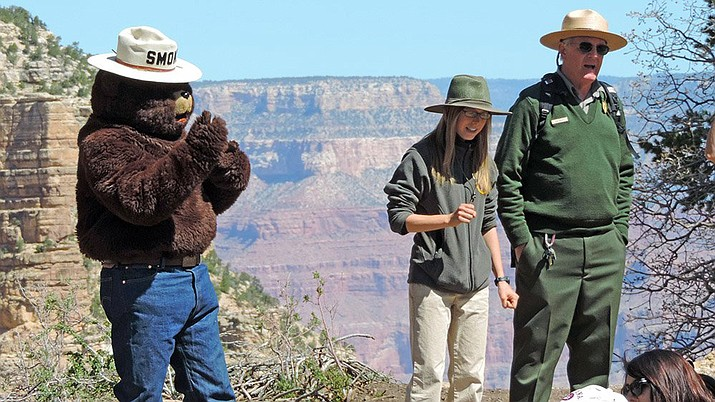 Smokey the Bear celebrated his 73rd birthday with visitors and rangers at the Grand Canyon Aug. 9.