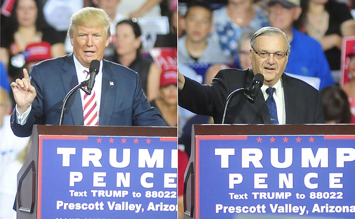 Current U.S. President Donald Trump, left, and former Maricopa County Sherrif Joe Arpaio, speak at a rally at the Prescott Valley Event Center in October. (Les Stukenberg/Courier, File)