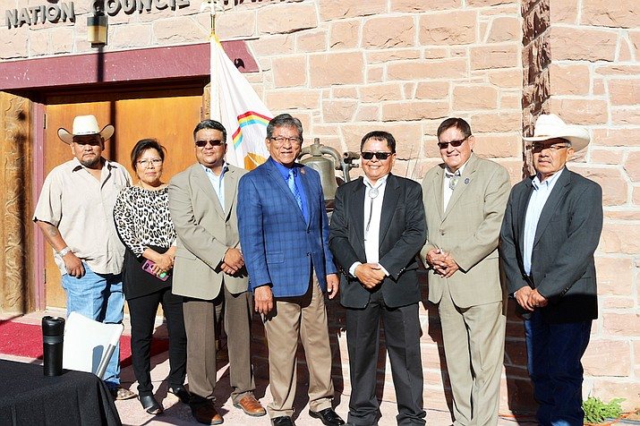 Navajo Nation President Russell Begaye welcomed Thomas J. Hogate as acting chief justice for the Navajo Nation Supreme Courte July 31.