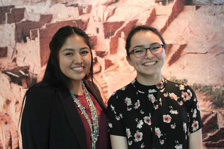 Northern Arizona Native American Foundation Board Member and former scholarship recipient Ashley Holiday and Yasmin Zuch.