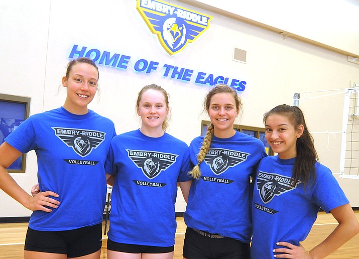 Seniors Katie Powell, Kaitlin Shroll, Leah DeLaurell and Megan Riley pose for photo before Embry-Riddle volleyball practice Monday, Aug. 14, in Prescott. (Les Stukenberg/Courier)