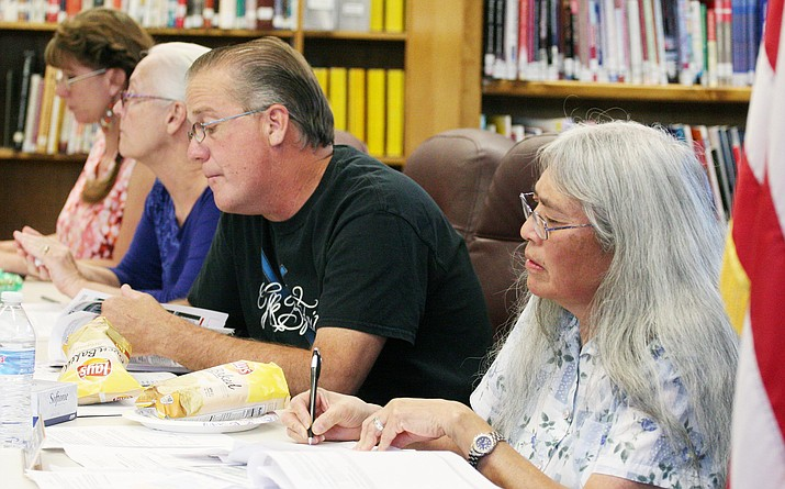 The Camp Verde Unified School District's governing board, pictured earlier this year, voted 5-to-0 on Aug. 8 to approve an Intergovernmental Agreement and Memorandum of Understanding with Valley Academy of Career and Technical Education. (Photo by Bill Helm)