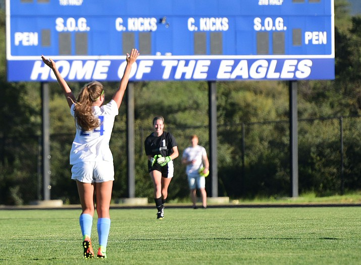 Sophomore Ally Leara celebrates her first half goal as the Embry-Riddle women's soccer team hosted Mesa Community College in a scrimmage Monday, Aug. 14, in Prescott. (Les Stukenberg/Courier)