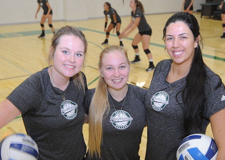 Baylie Stephens, Jaclyn Butler and Kaitlin Lost will be anchors for the Yavapai College volleyball team during the 2017 season.  (Les Stukenberg/Courier)