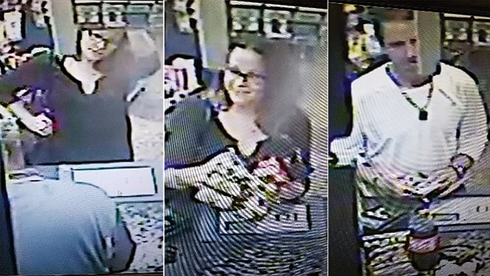 Police are looking for suspects involved in using counterfeit money. The suspects are described as a white male and female. If anyone has information involving these particular individuals, or counterfeit money being passed in Yavapai County, they are encouraged to contact Cottonwood Police at 928-649-1397 or Silent Witness at 800-932-3232. (Photos courtesy of Cottonwood and Jerome police departments)