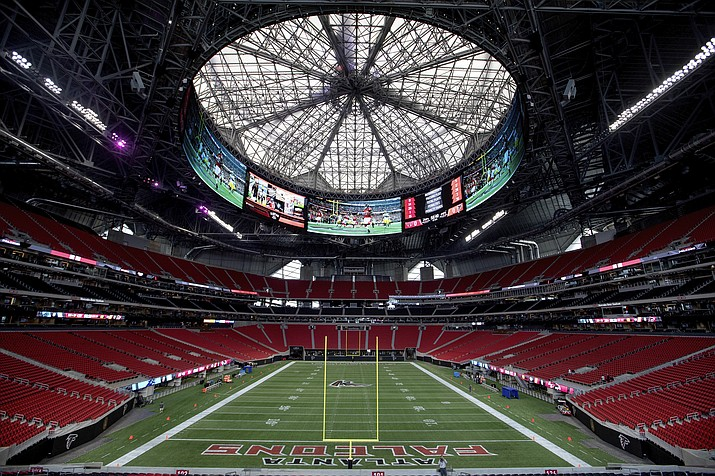 The Mercedes-Benz Stadium is the new home of the Atlanta Falcons. The stadium will open to the public for the first time Saturday, Aug. 26, 2017, for a Falcons preseason game. (David Goldman/AP)