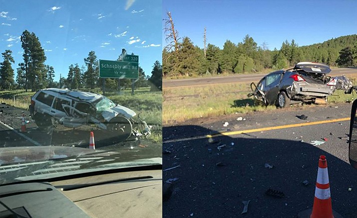 Four people were killed after a two-vehicle collision on northbound I-17 near Munds Park early Friday. (Photos Courtesy of Lambert Leon)