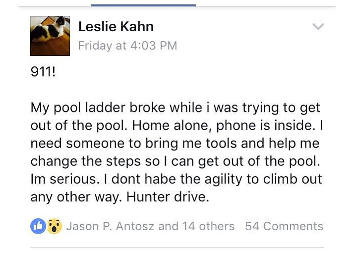 After getting stuck in a swimming pool, 61-year-old Leslie Kahn was able to reach her iPad and post this message on a local community Facebook page.