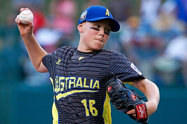 Australia pitcher Harrison Wheeldon delivers in the first inning of an International elimination baseball game against the Dominican Republic at the Little League World Series tournament in South Williamsport, Pa., Saturday, Aug. 19. (Gene J. Puskar/AP)