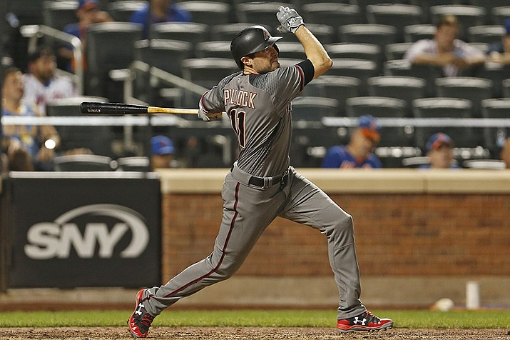 Arizona Diamondbacks A.J. Pollock hits a two-run home run during the 10th inning against the New York Mets on Monday, Aug. 21, 2017, in New York. (Adam Hunger/AP)