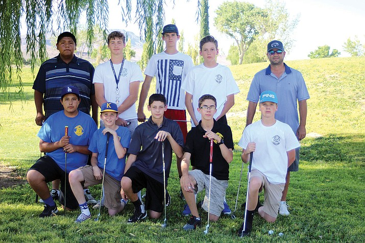 The Kingman High School boys' golf team: (back row, from left) Brett Bender, Sid Jensen, Landin Jones, Colton Padilla, coach Chad Baitinger. Front, from left: Matthew Mendez, TJ Harviston, Kolton McCormick, Kaelib Miller and Hayden Tanner.
