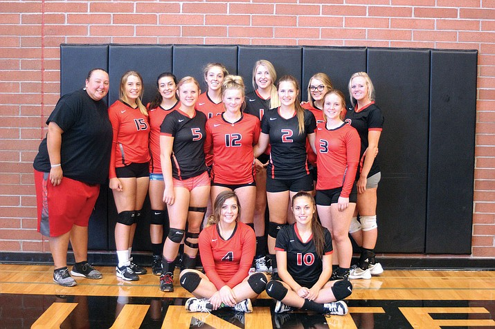 The Lee Williams High School volleyball team: (Front row, from left) Lorelei Fernandez, and Madison Arave. Middle row, from left: Khori Cobanovich, Bryce Shuffler, Tori Logan and Lanae Burgess. Back row, from left: coach Julia Lasiloo, Courtney Janney, Ashley Sahawneh, Ellie Thomas, Sadie Snay, ElizaTelford and Brittany Dollarhide.