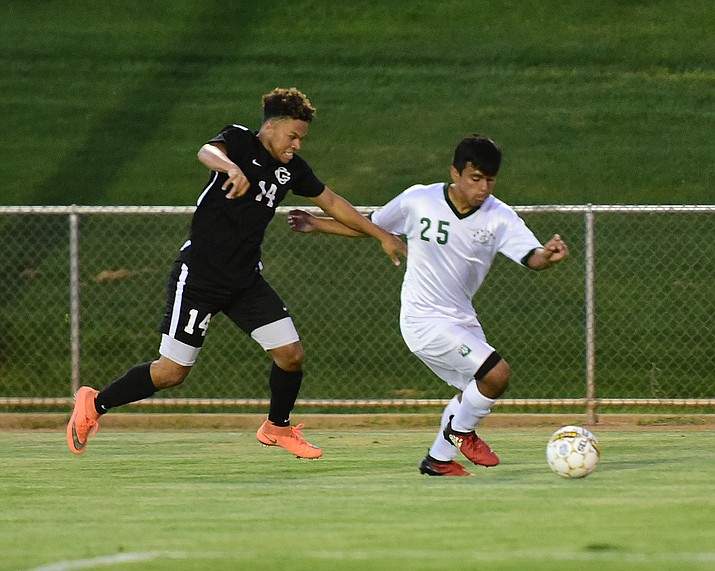 Yavapai College's Jose Perez Flores prepares to score his first goal of the night as they take on Chandler-Gilbert Tuesday evening at Mountain Valley Park in Prescott Valley. (Les Stukenberg/The Daily Courier).