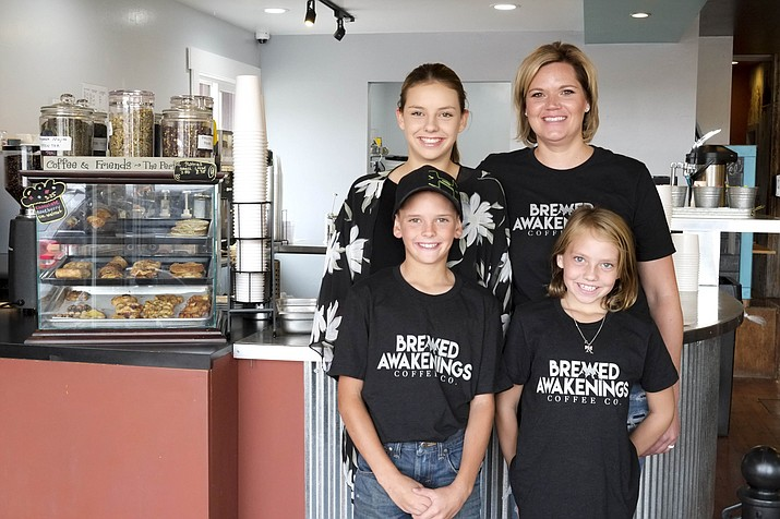 Devin Maebe owns and operates Brewed Awakenings with the help of her children, from left: Brooklynn, Jace and Kadyn Maebe.