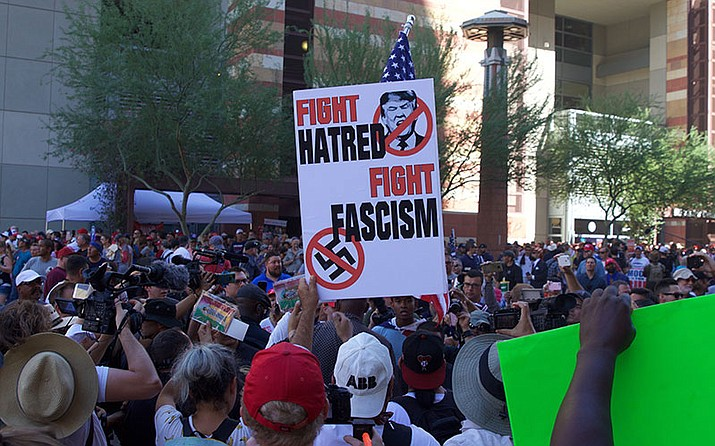 Second Street gets crowded as more counterprotestors arrive at the Trump rally in front of the Phoenix Convention Center.