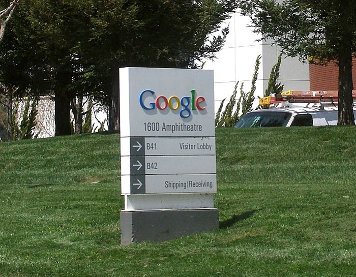 The entry sign to Google's corporate headquarters, the Googleplex, in Mountain View, California.
