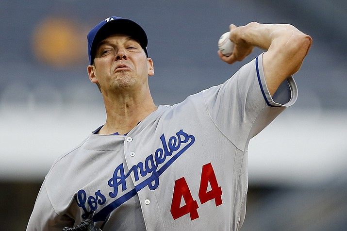 Los Angeles Dodgers starter Rich Hill pitches against the Pittsburgh Pirates in the first inning Wednesday, Aug. 23, 2017, in Pittsburgh. (Keith Srakocic/AP)