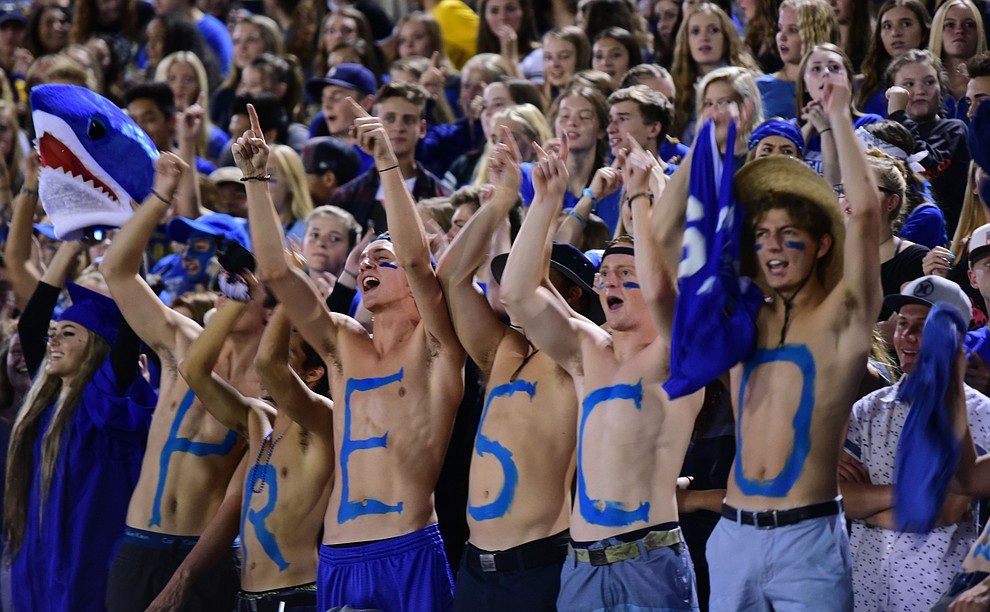 Prescott's fans celebrate a first half touchdown as the Badgers take on the Marcos de Niza in Prescott Friday, August 25. (Les Stukenberg/The Daily Courier).