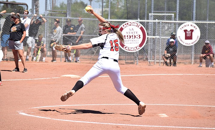 Krista Earl pitches in the 4A state tournament last year at Tucson Salpointe Catholic. The AIA voted to make the 4A baseball and softball tournaments double elimination. (VVN/James Kelley)