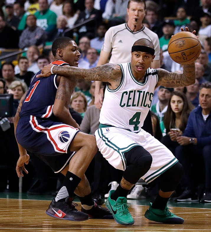 Boston Celtics guard Isaiah Thomas drives to the basket during a second-round NBA playoff series game. Following the biggest slight of his NBA career, Thomas will have to prove his worth. All eyes will be watching how he rebounds after Tuesday's blockbuster trade. The Celtics sent the two-time All-Star packing from a franchise and city that he'd embraced with every ounce of his 5-foot-9 frame. (Charles Krupa/AP, File)