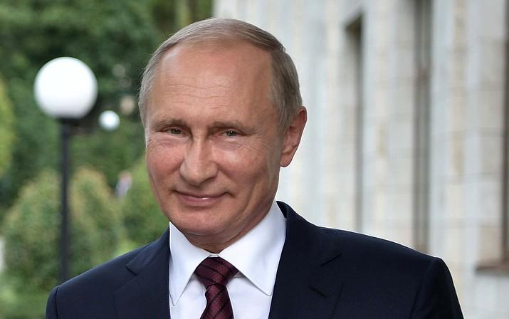 Russian President Vladimir Putin on Wednesday, Aug. 23, 2017. (Alexei Nikolsky, Sputnik, Kremlin Pool Photo via AP)