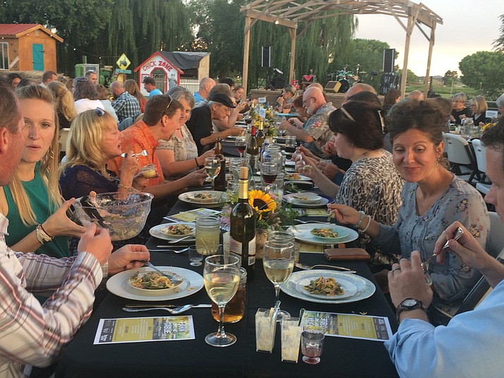 Diners at Farm to Fork on Saturday, Aug. 26 begin their dinner experience with a first course of vegetable medley hors d'oeuvres. (Jason Wheeler/The Daily Courier)