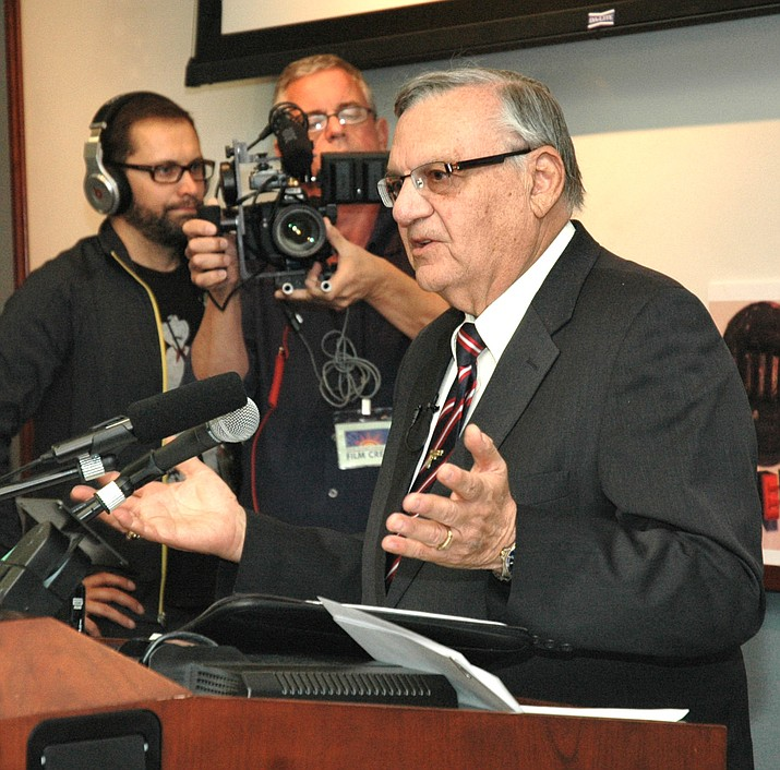 Joe Arpaio talks during a press conference in 2012. (Howard Fischer/Capitol Media)
