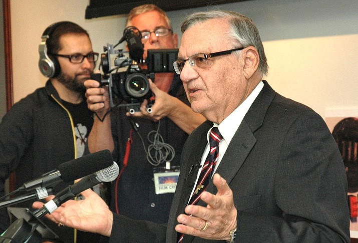 Joe Arpaio, when he was still sheriff, at a 2012 press conference challenging the validity of Barack Obama's birth certificate. Defeated in his own 2016 reelection bid, Arpaio now is weighing a run for some other office. (Capitol Media Services file photo by Howard Fischer)
