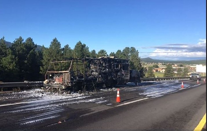 A camper and trailer caught fire on I-40 near Williams Aug. 23.