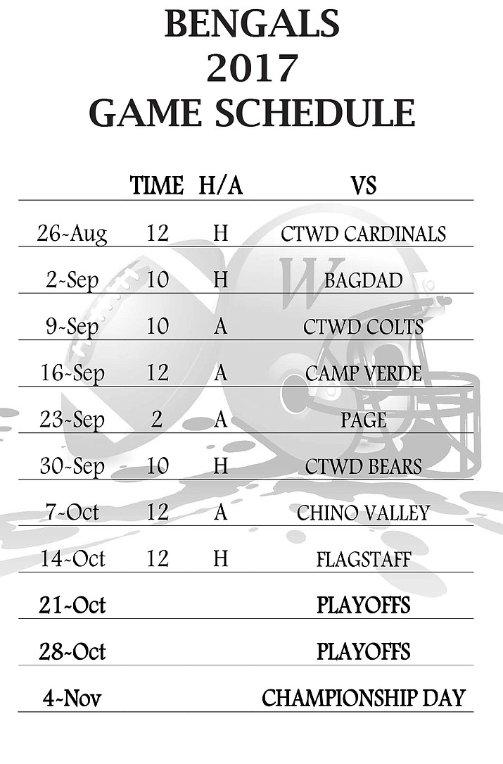 Youth Football Bengals Schedule