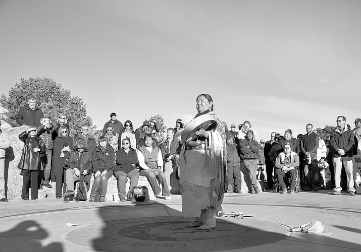 Diana Sue Uqualla blesses Mather Point Amphitheater.