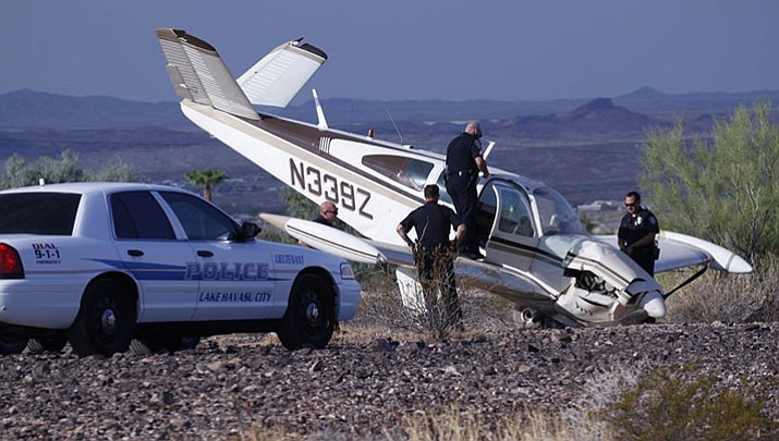 Officers on the scene of a plane crash north of Lake Havasu City Tuesday morning.