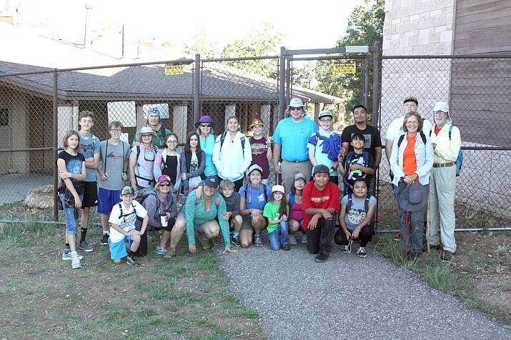 Grand Canyon students and staff, along with their families, gather for the first official hike of the Phantom Challenge Aug. 25.